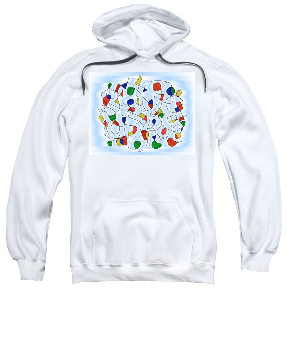Abstract Sweatshirt featuring the digital art Clown Memory Cells Blue by Mark Sellers