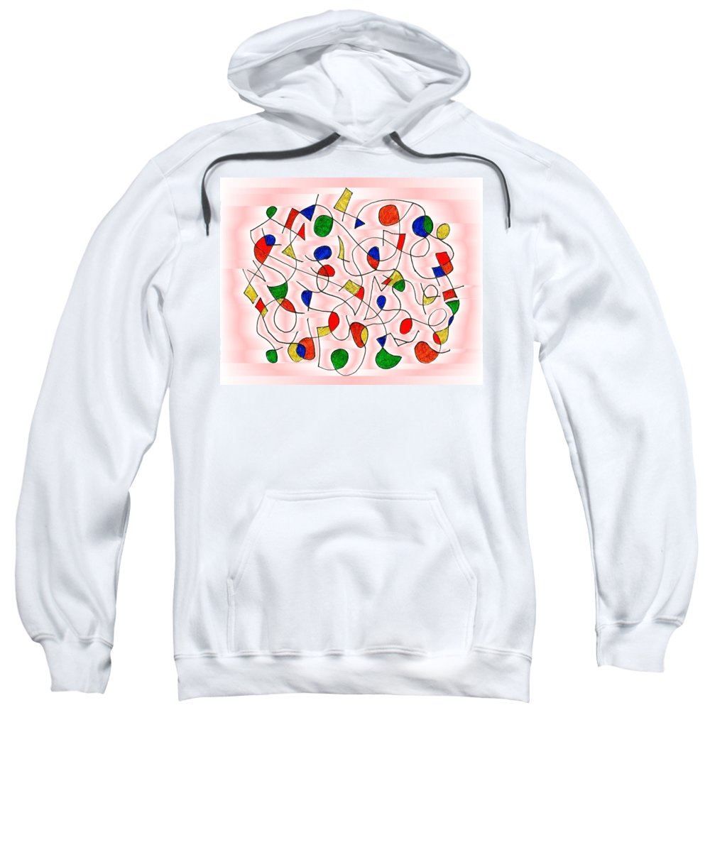 Abstract Sweatshirt featuring the digital art Clown Memory Cells Pink by Mark Sellers