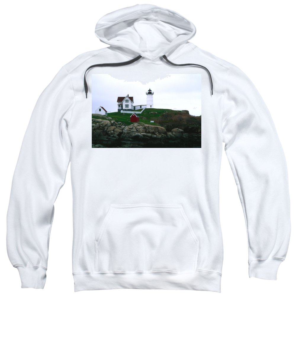Landscape Lighthouse Nautical New England Nubble Light Cape Neddick Sweatshirt featuring the photograph Cnrf0502 by Henry Butz