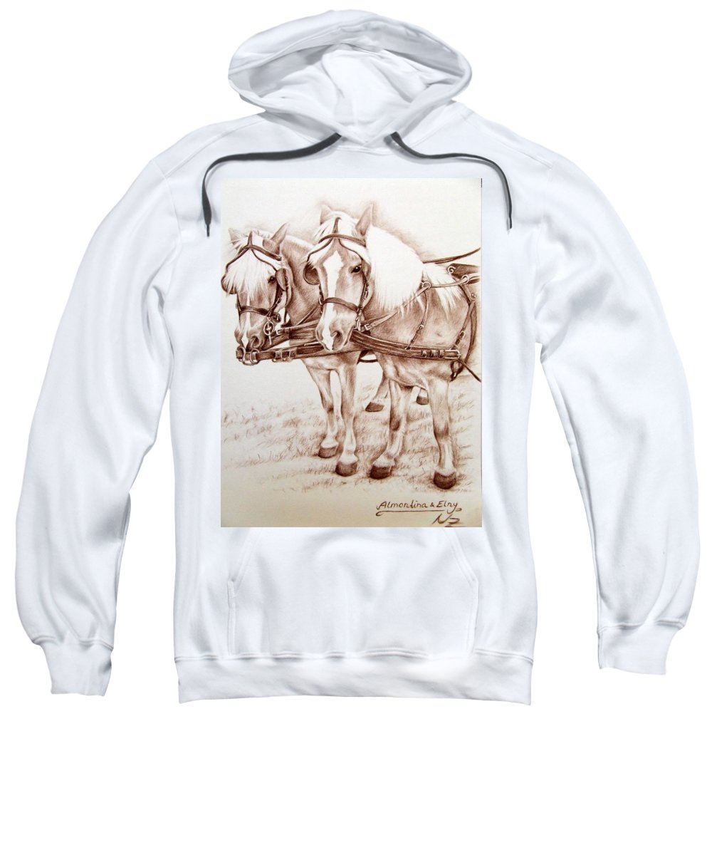 Horses Sweatshirt featuring the drawing Coach Horses by Nicole Zeug