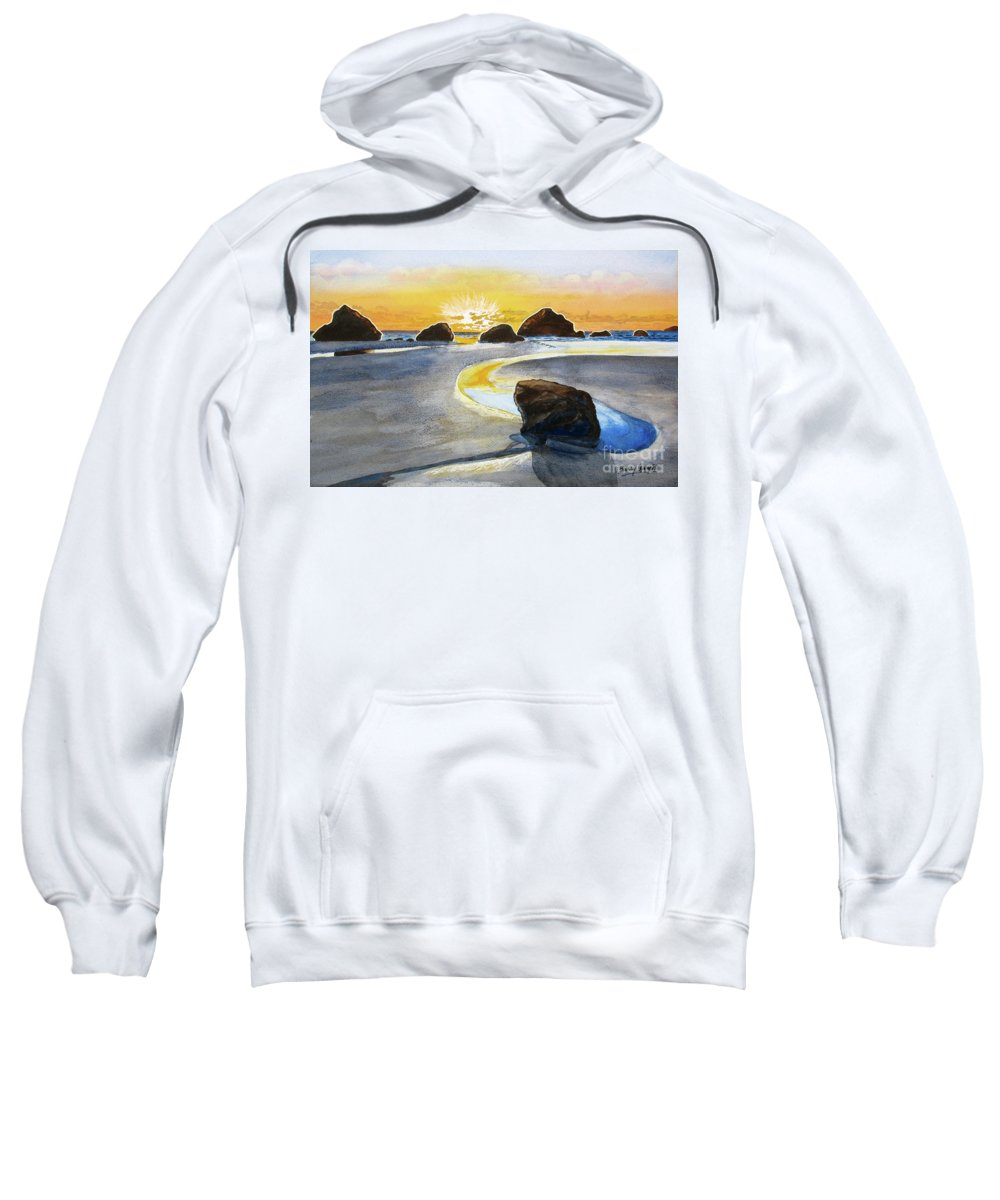 Oregon Sweatshirt featuring the painting Coast Of Brandon, Oregon by Barry Levy