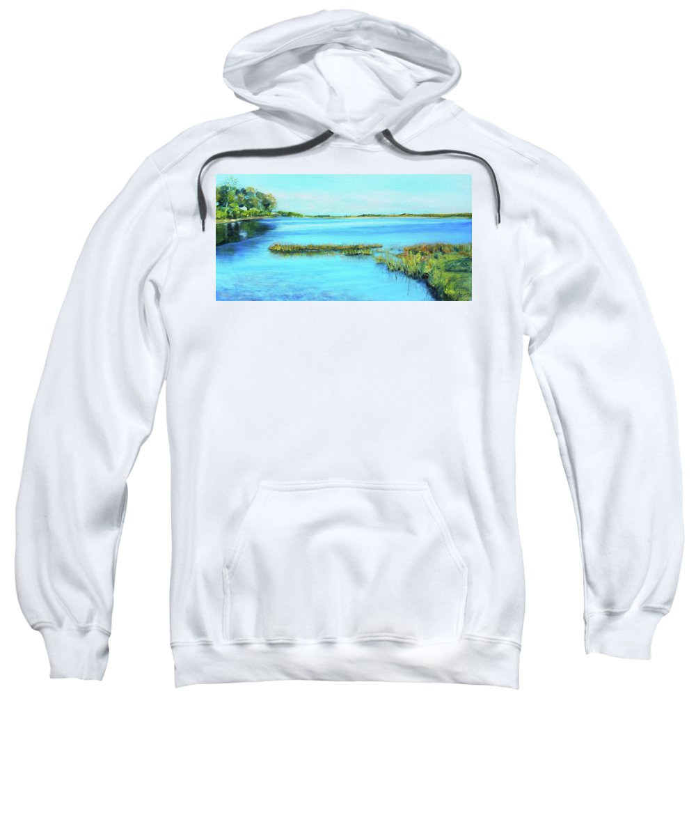 River Sweatshirt featuring the painting Coastal River by Susan Hanna