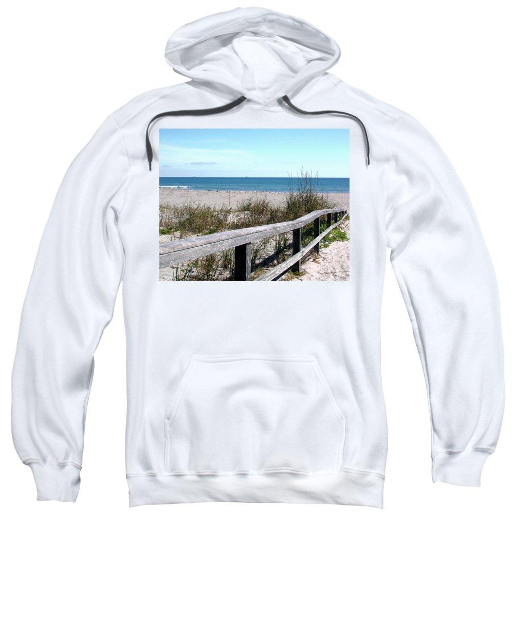 Beach; Florida; Cocoa; Railing; Ocean; Atlantic; Sea; Cocoa Beach; Brevard; Sand; Wood; Ships; Space Sweatshirt featuring the photograph Cocoa Beach In Florida by Allan Hughes