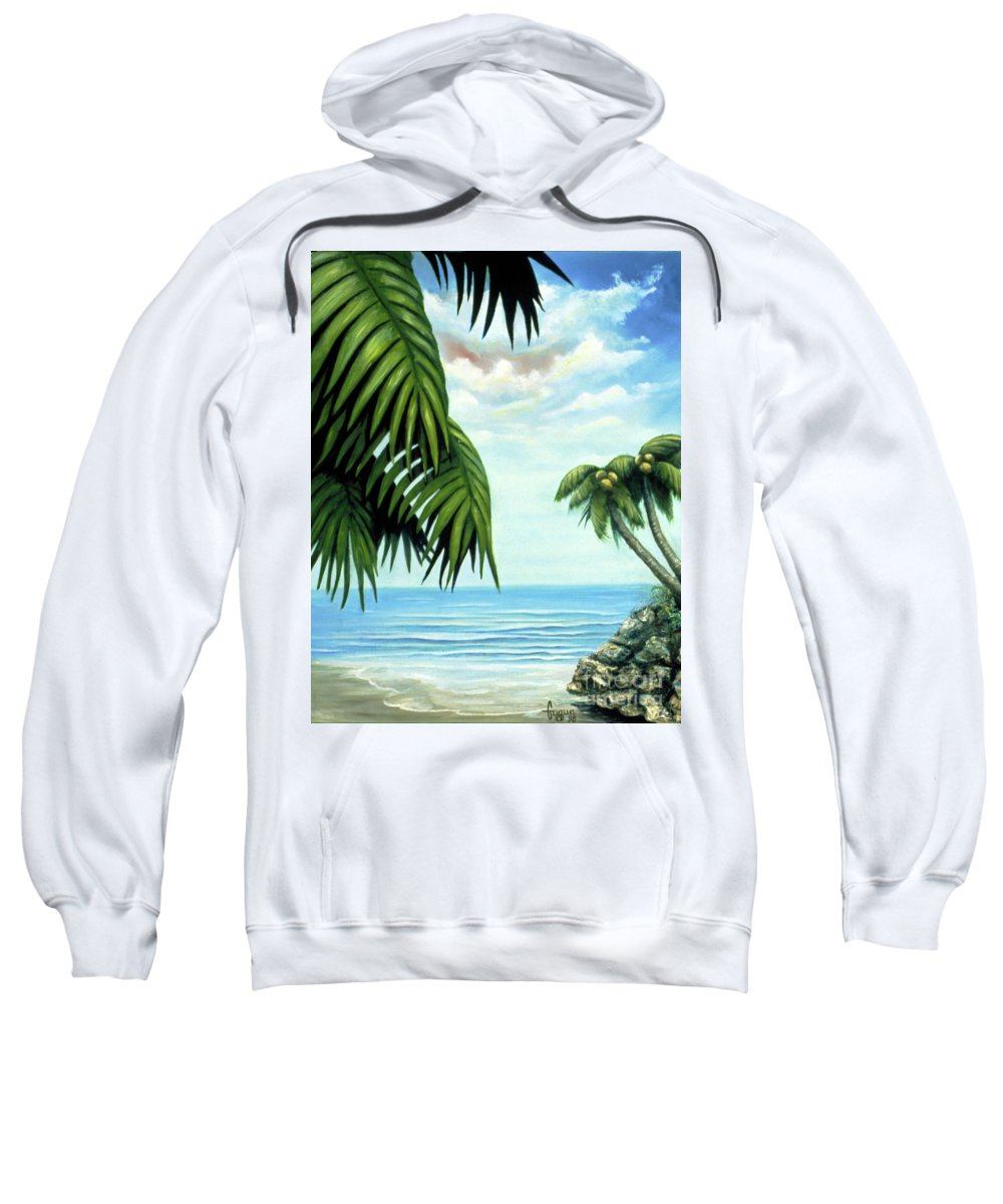 Beverly-fuqua Artwork Sweatshirt featuring the painting Coconut Cove by Beverly Fuqua