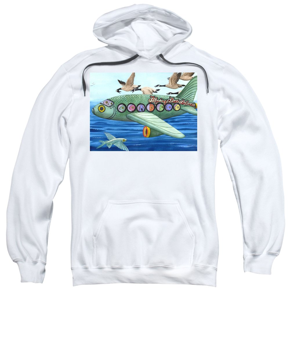 Flying Fish Sweatshirt featuring the painting Cod is my co-pilot by Catherine G McElroy