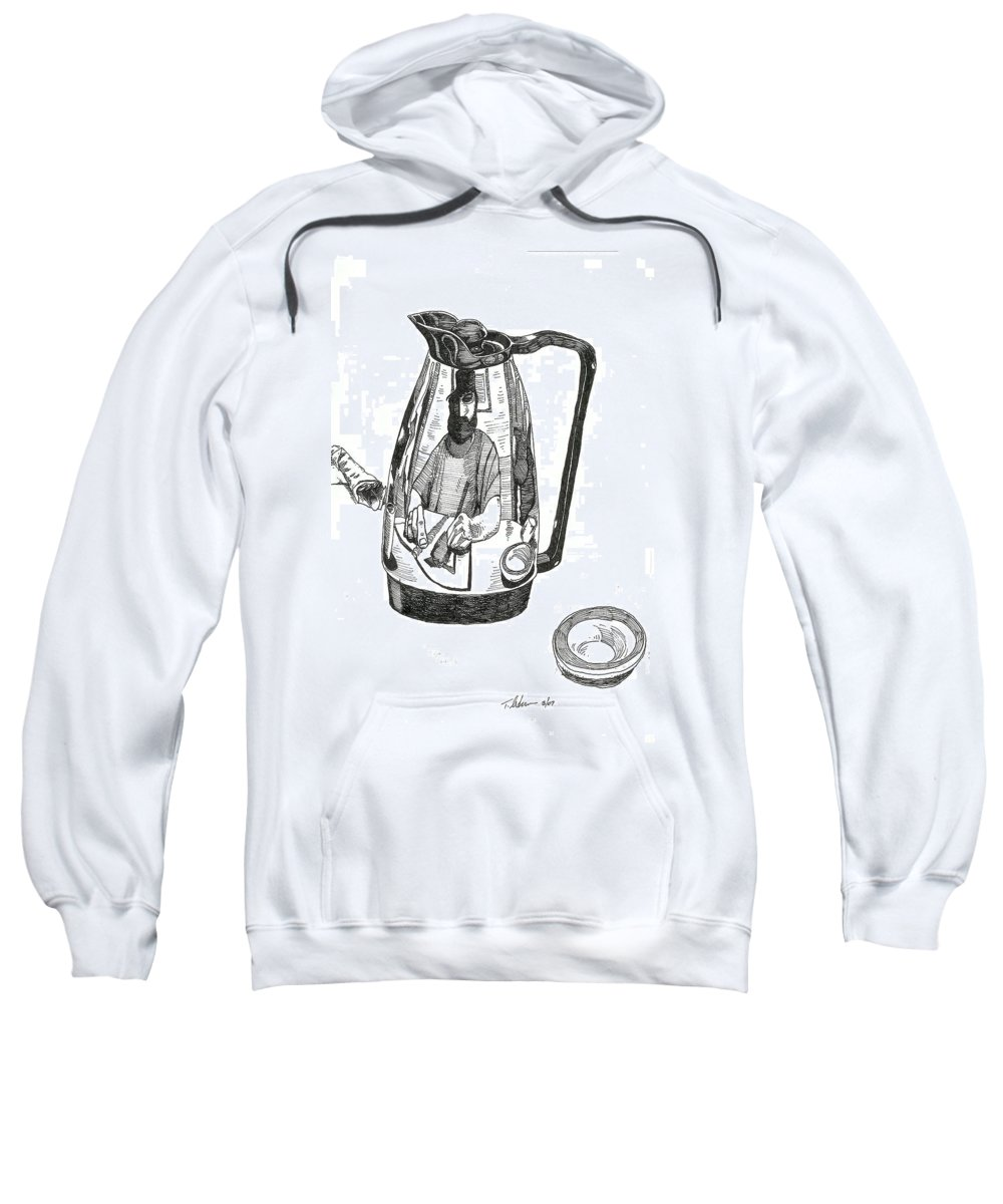 Pen And Ink Sweatshirt featuring the drawing Coffee Pot by Tobey Anderson