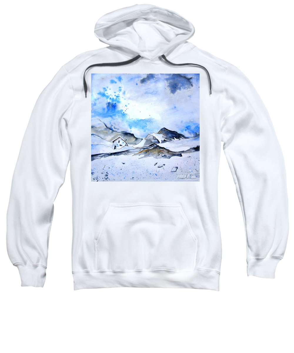Montains Sweatshirt featuring the painting Col Du Pourtalet In The Pyrenees 01 by Miki De Goodaboom