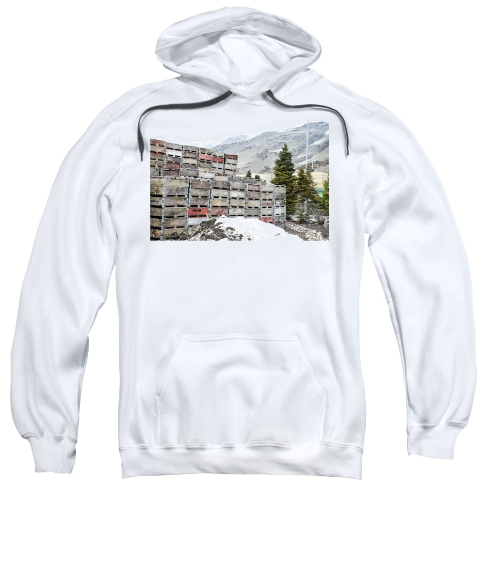 Cold Apple Crates Sweatshirt featuring the photograph Cold Apple Crates by Tom Cochran