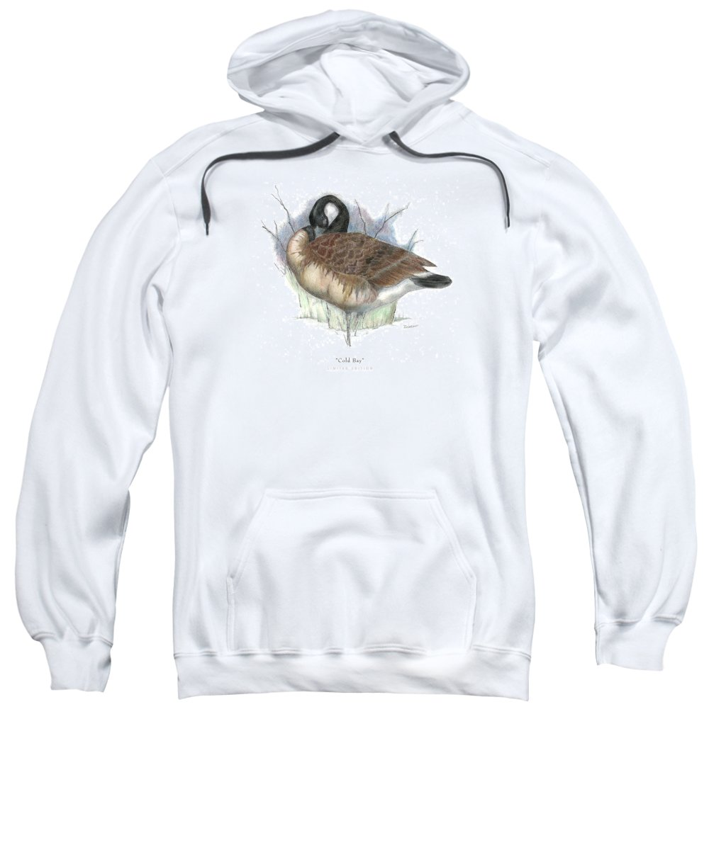 Canadian Goose Sweatshirt featuring the drawing Cold Bay by David Weaver