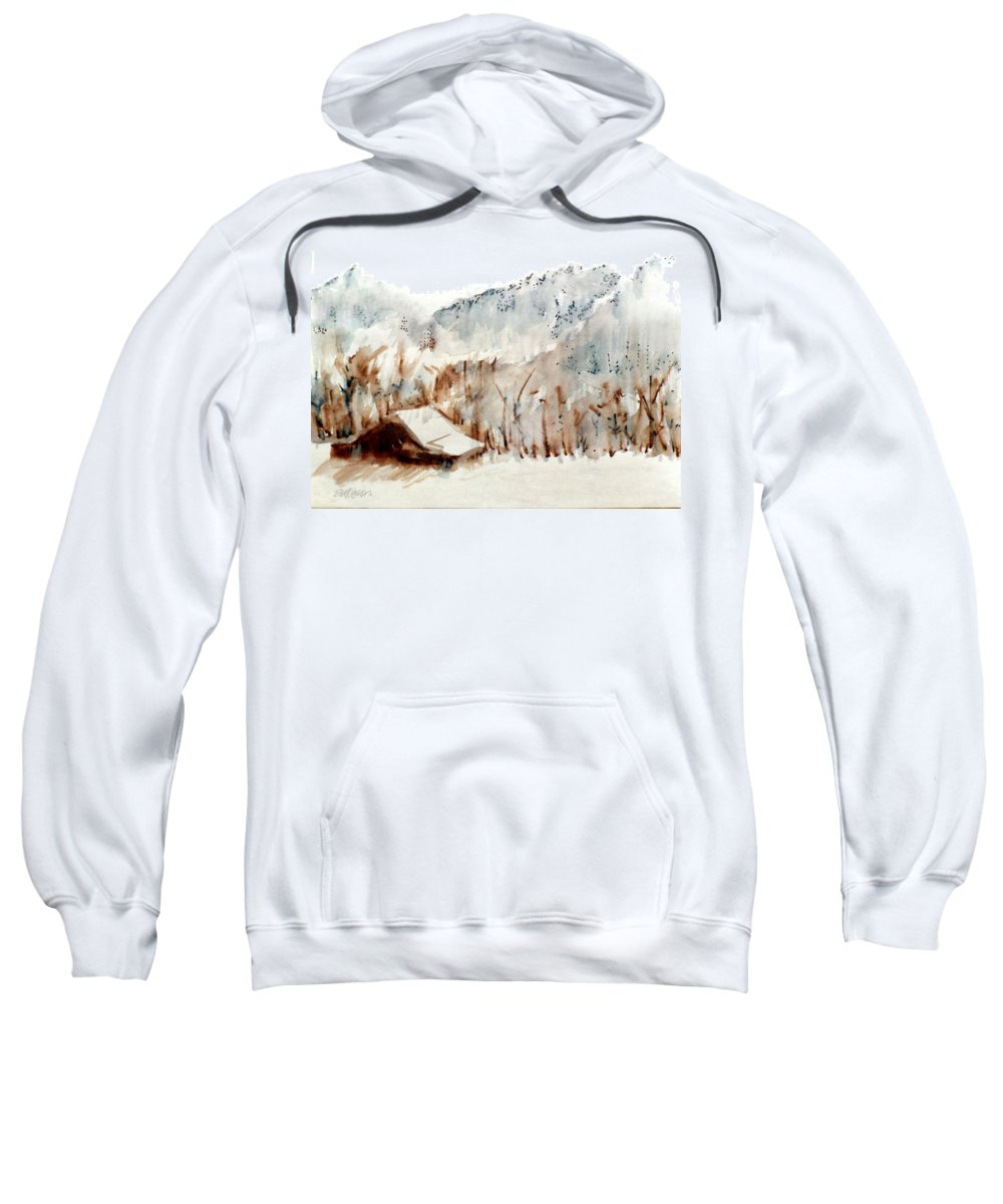 Cold Cove Sweatshirt featuring the mixed media Cold Cove by Seth Weaver