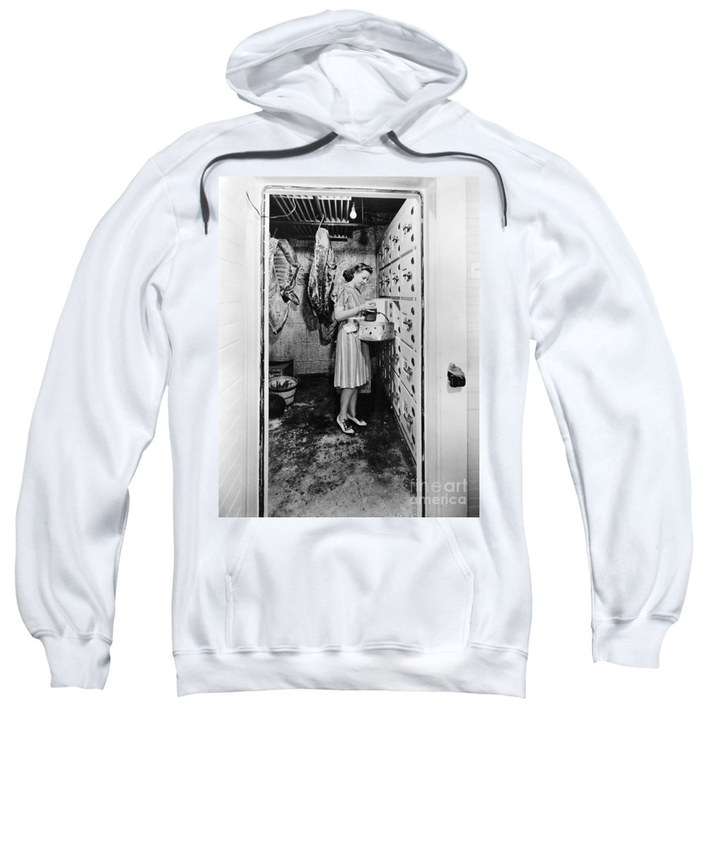 1940 Sweatshirt featuring the photograph Cold Storage Room, C1940 by Granger