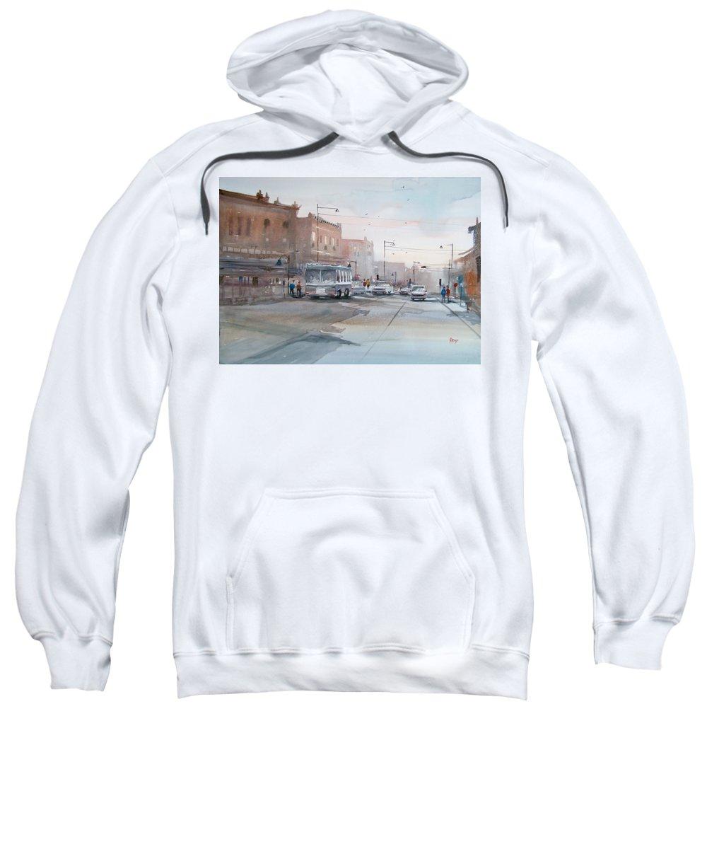 Ryan Radke Sweatshirt featuring the painting College Avenue - Appleton by Ryan Radke