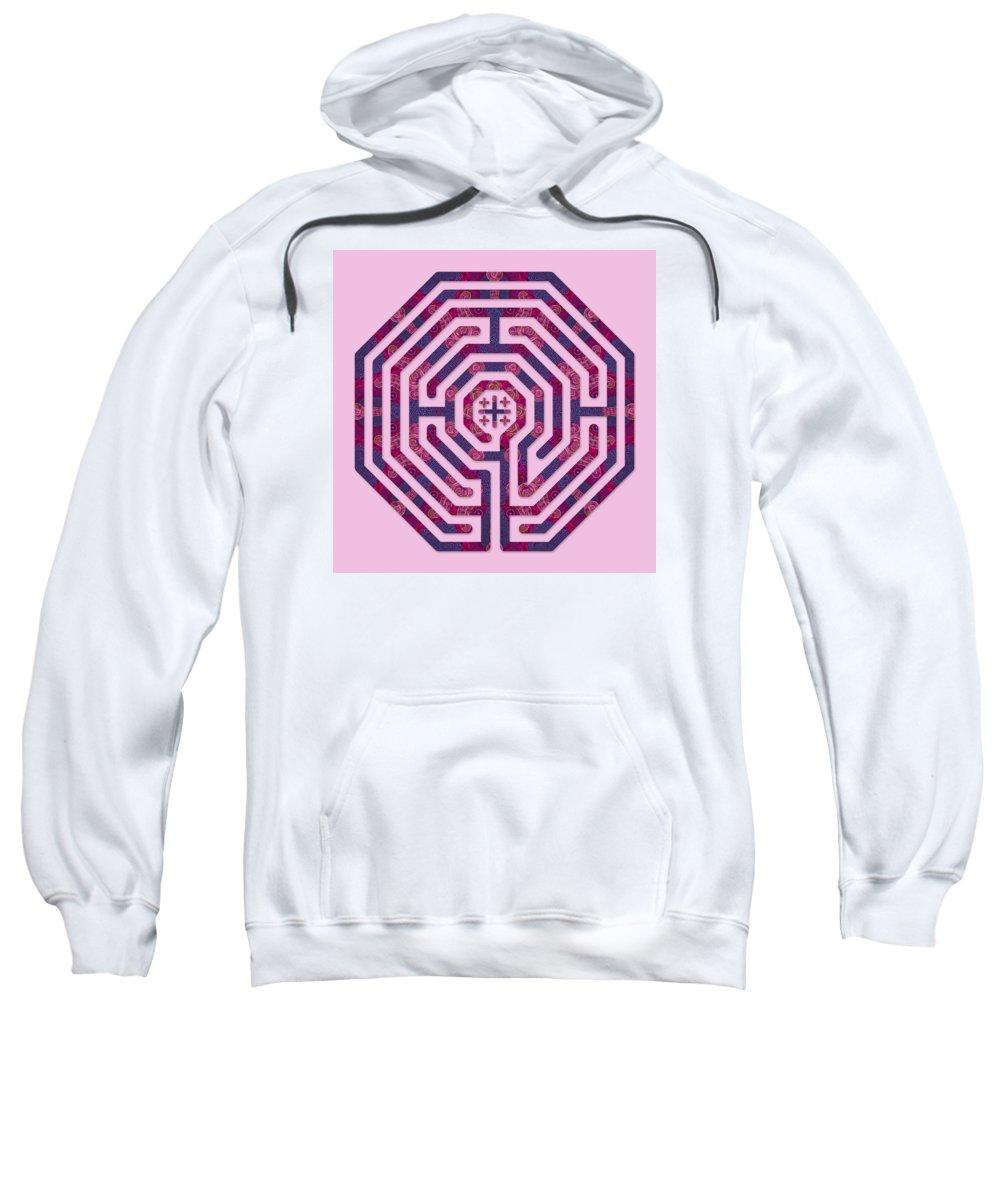 Labyrinth Art Sweatshirt featuring the digital art Cologne - Plums by Fine Art Labyrinths