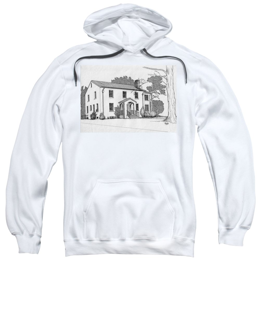 Drawing - Pen And Ink Sweatshirt featuring the drawing Colonel Quarters 2 - Fort Benning Ga by Marco Morales