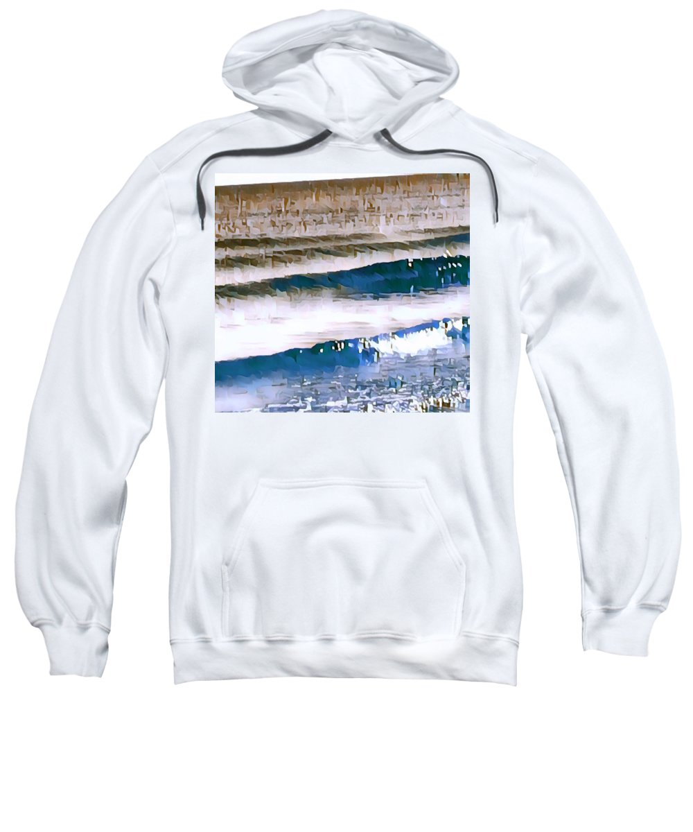 Water Sweatshirt featuring the digital art Color Movement-blue And Beige by Brenda Plyer