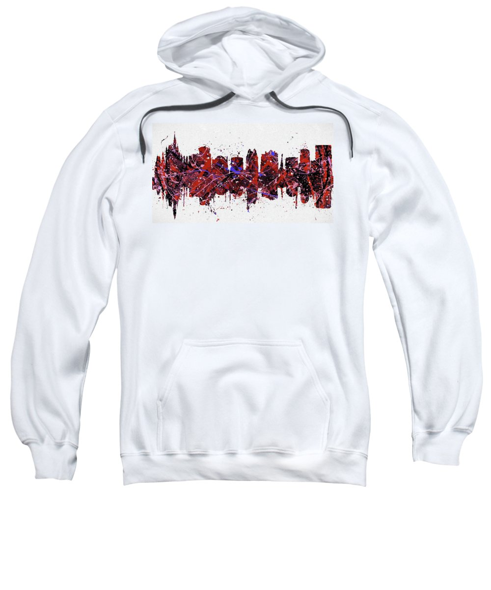 Orlando Colorful Skyline Sweatshirt featuring the painting Colorful Orlando Florida by Dan Sproul