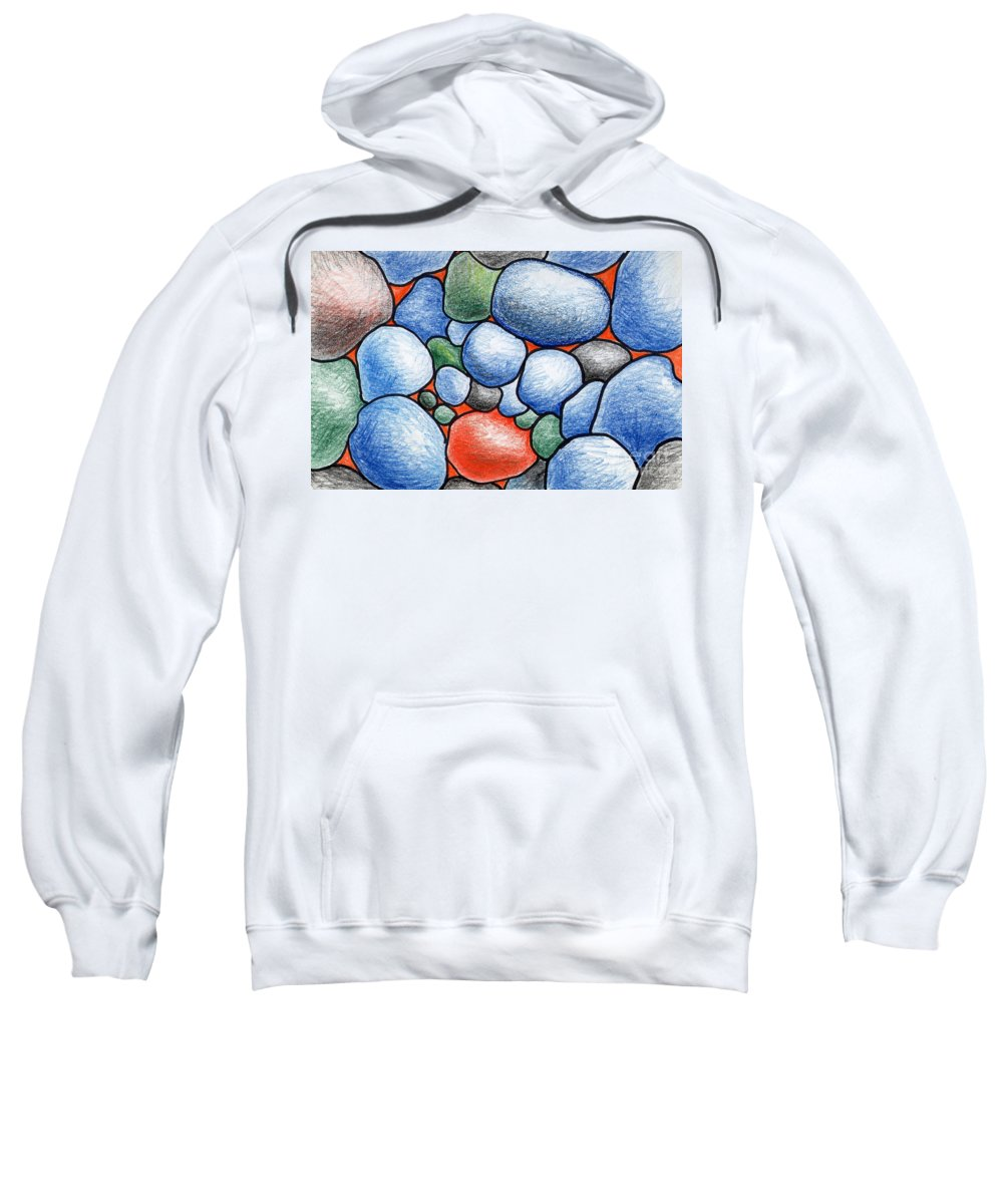 Rocks Sweatshirt featuring the drawing Colorful Rock Abstract by Nancy Mueller