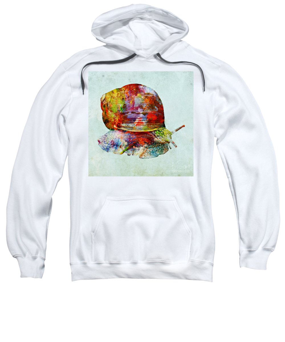 Color Fusion Sweatshirt featuring the mixed media Colorful Snail Art by Olga Hamilton