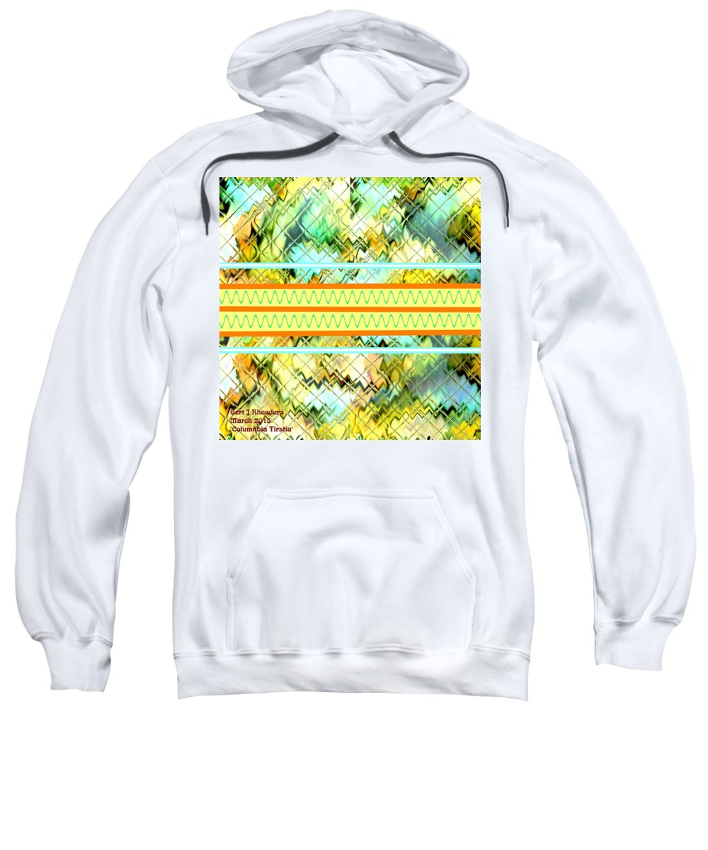 Announcement Sweatshirt featuring the digital art Columnbia Tristia Zontal by Gert J Rheeders