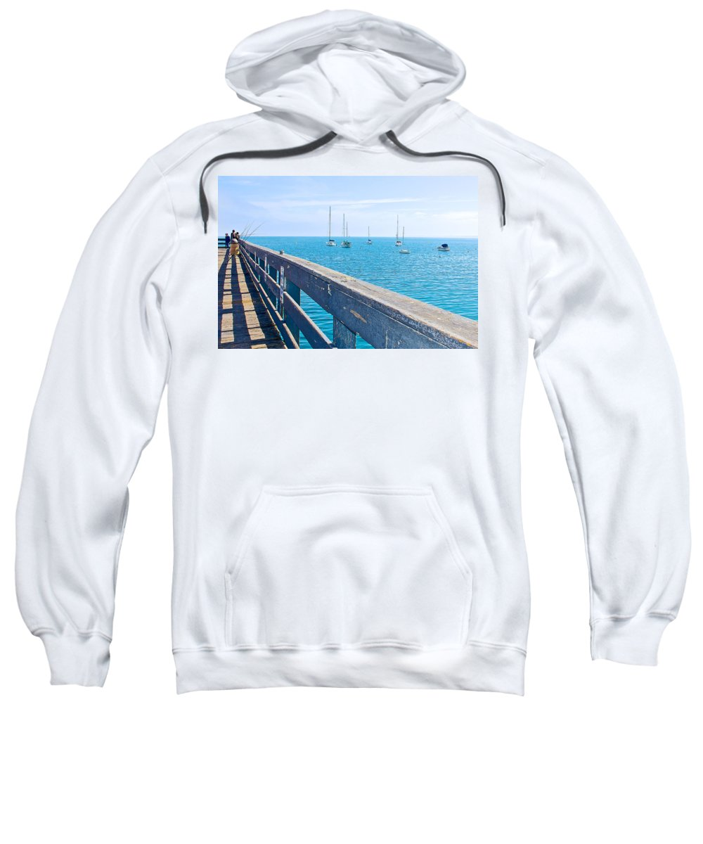 Commercial Pier On Monterey Bay Sweatshirt featuring the photograph Commercial Pier On Monterey Bay-california by Ruth Hager