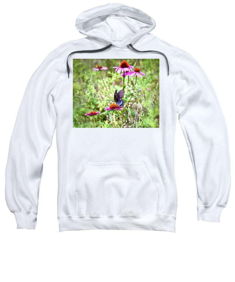 Coneflower Sweatshirt featuring the photograph Coneflower Companion by Kerri Farley