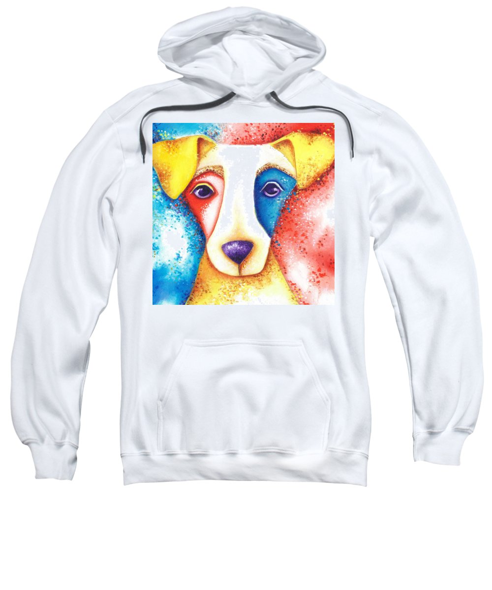 Dog Sweatshirt featuring the painting Confetti by Deb Harvey