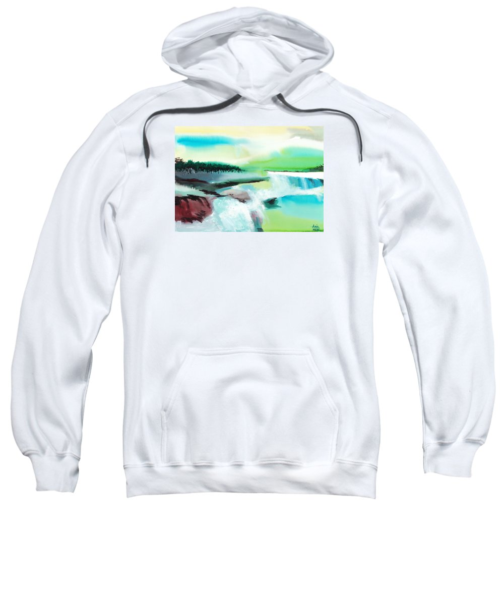 Nature Sweatshirt featuring the painting Constructing Reality 1 by Anil Nene