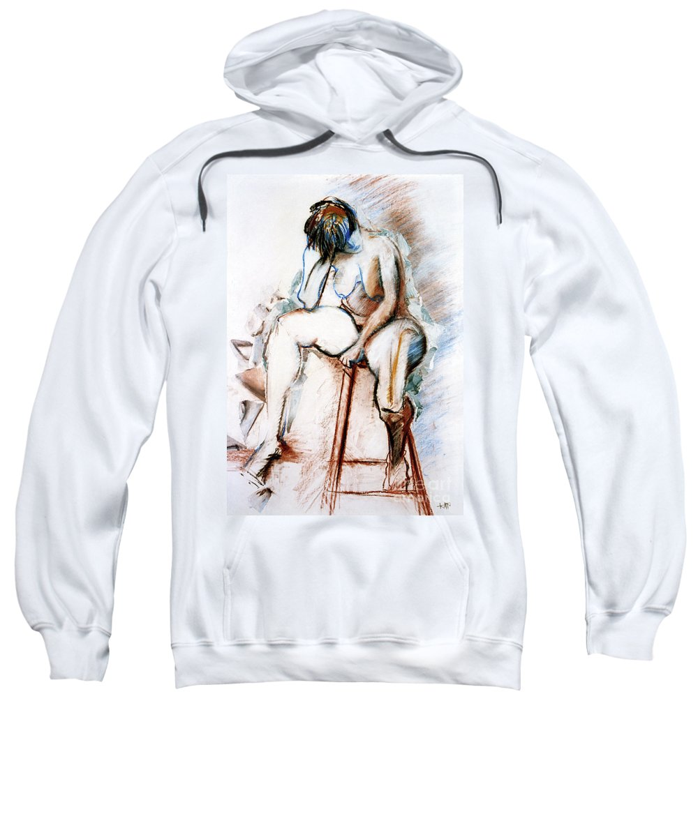 Female Sweatshirt featuring the drawing Contemplation - Nude on a Stool by Kerryn Madsen-Pietsch