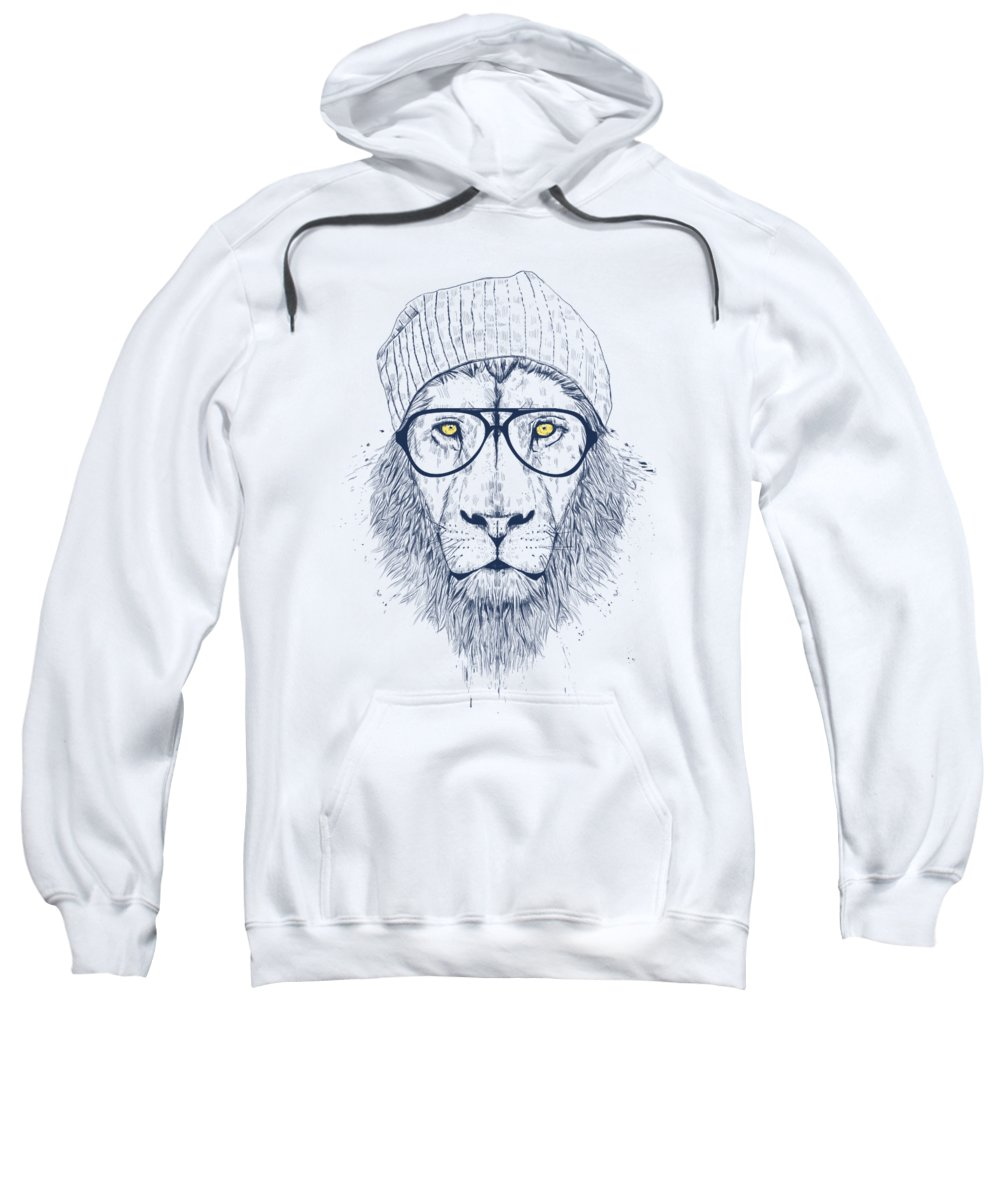 Lion Sweatshirt featuring the digital art Cool Lion by Balazs Solti