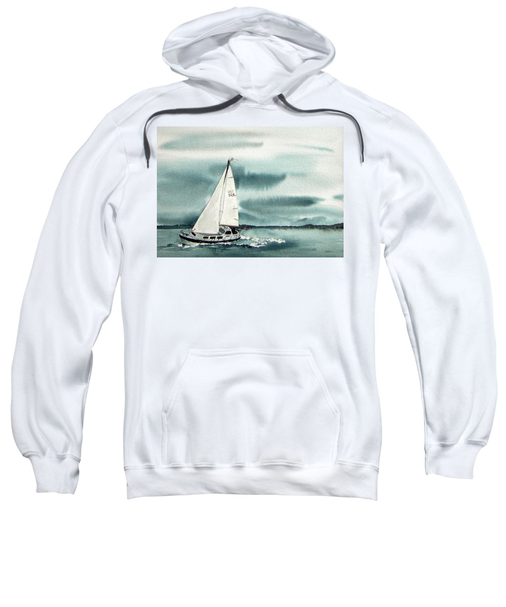Sailing Sweatshirt featuring the painting Cool Sail by Gale Cochran-Smith