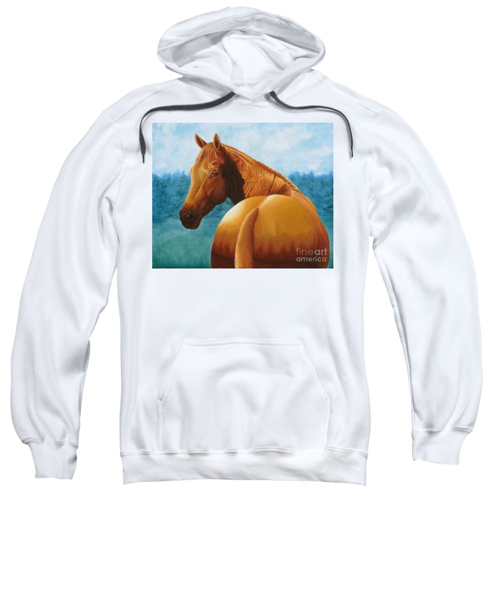 Oil Sweatshirt featuring the painting Copper Bottom - Quarter Horse by Pauline Sharp