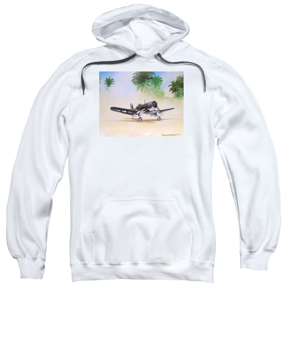 Aviation Sweatshirt featuring the painting Corsair Preflight by Marc Stewart