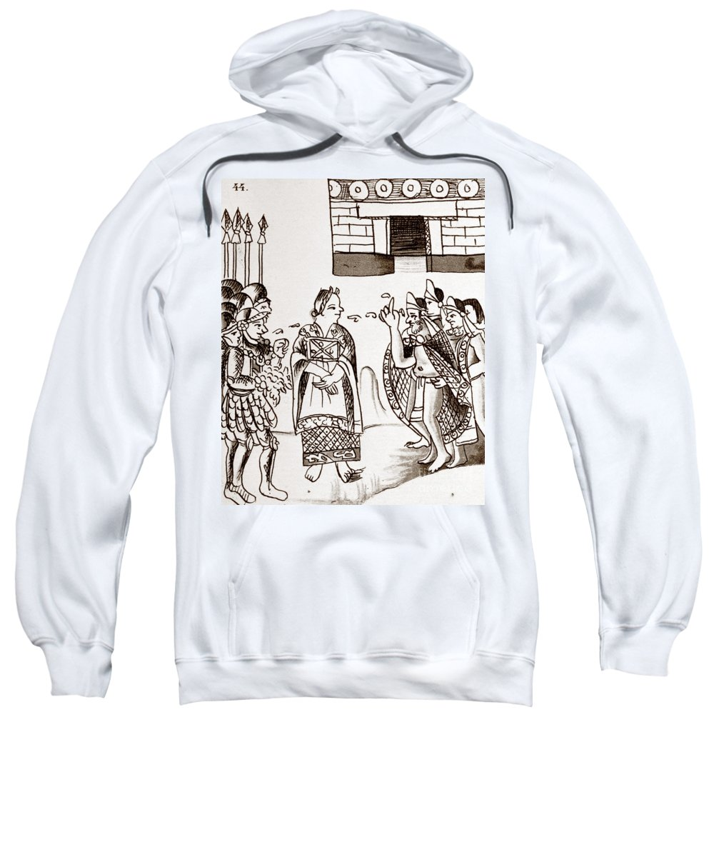 1540 Sweatshirt featuring the photograph Cortes & Montezuma, 1519 by Granger
