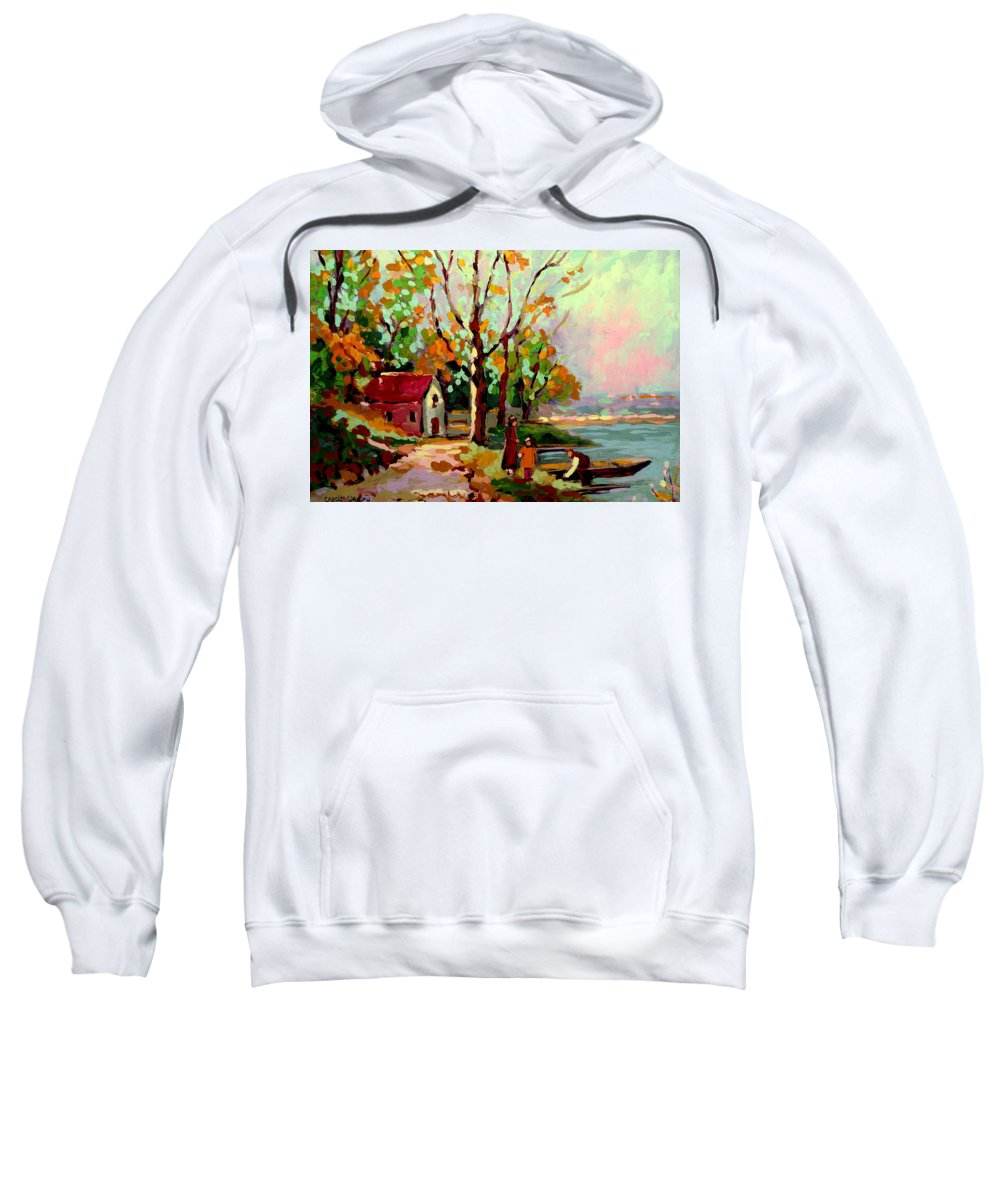 Montreal Sweatshirt featuring the painting Cottage Country The Eastern Townships A Romantic Summer Landscape by Carole Spandau