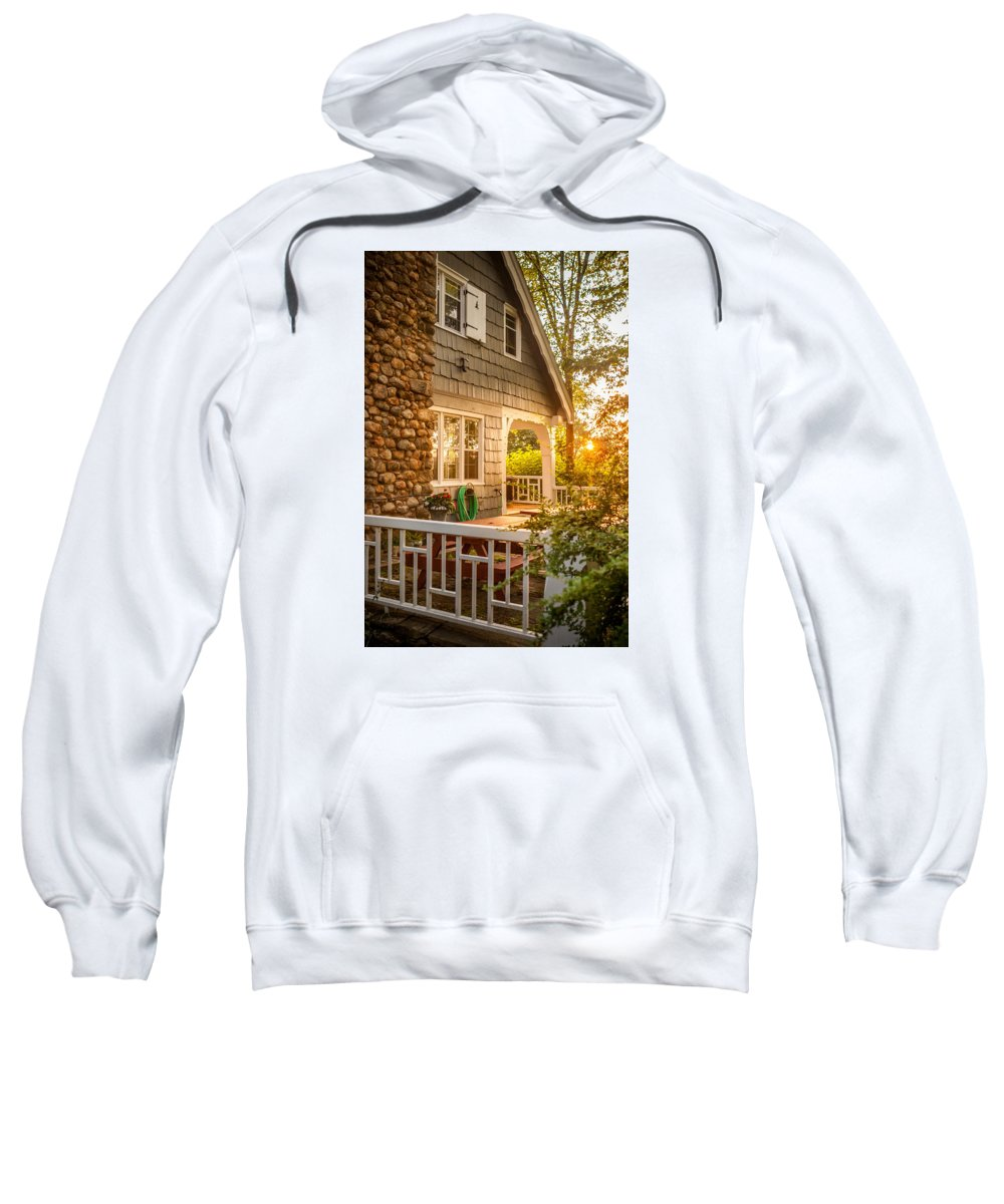 Warm Sweatshirt featuring the photograph Cottage Sunset In Deep Cove, Nova Scotia by Mike Organ