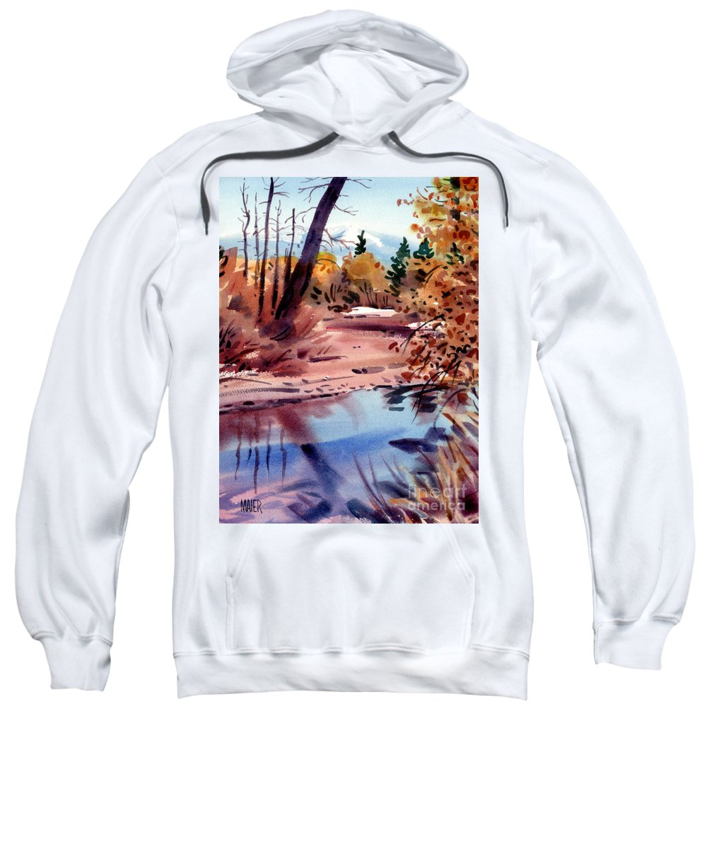 Cottonwood Trees Sweatshirt featuring the painting Cottonwoods In October by Donald Maier