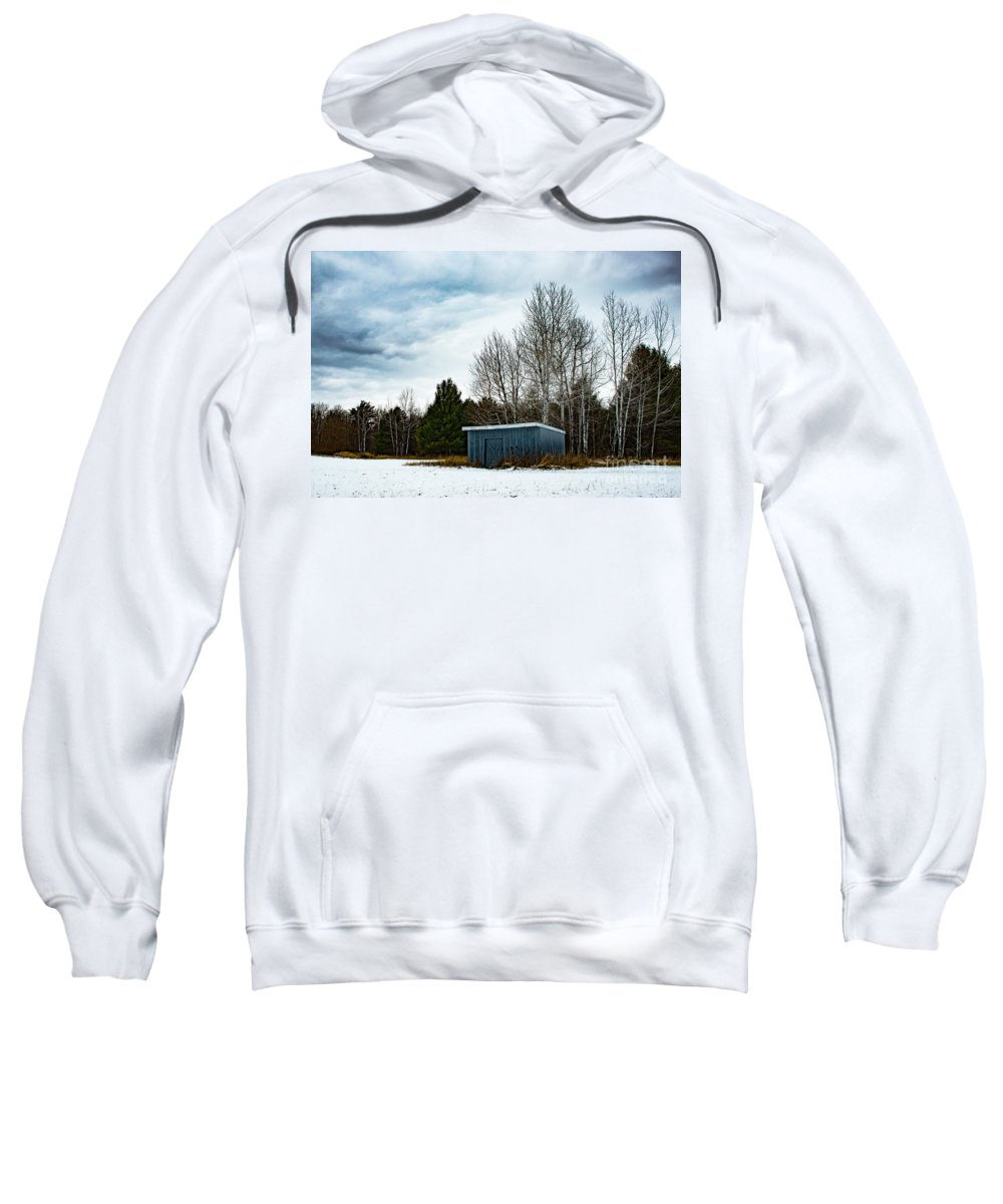 Snow Sweatshirt featuring the photograph Country Barn In The Snow by Wesley Farnsworth