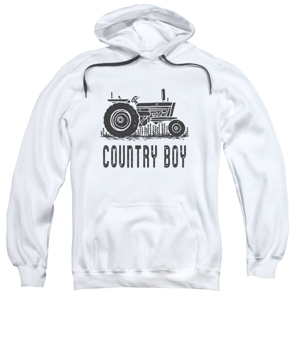 Tractor Sweatshirt featuring the digital art Country Boy Tractor Tee by Edward Fielding