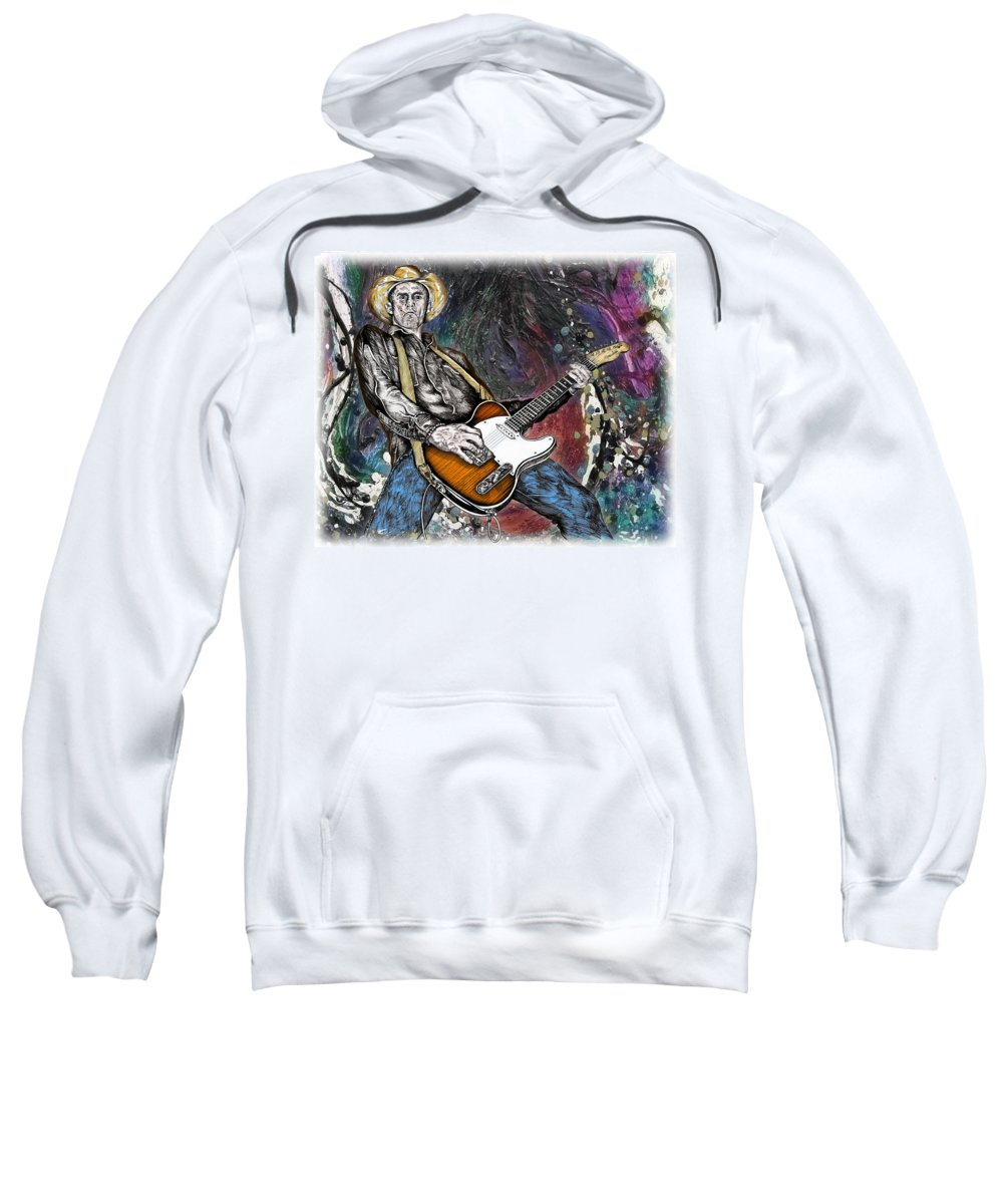 Country Sweatshirt featuring the drawing Country Rock Guitar by Doug LaRue