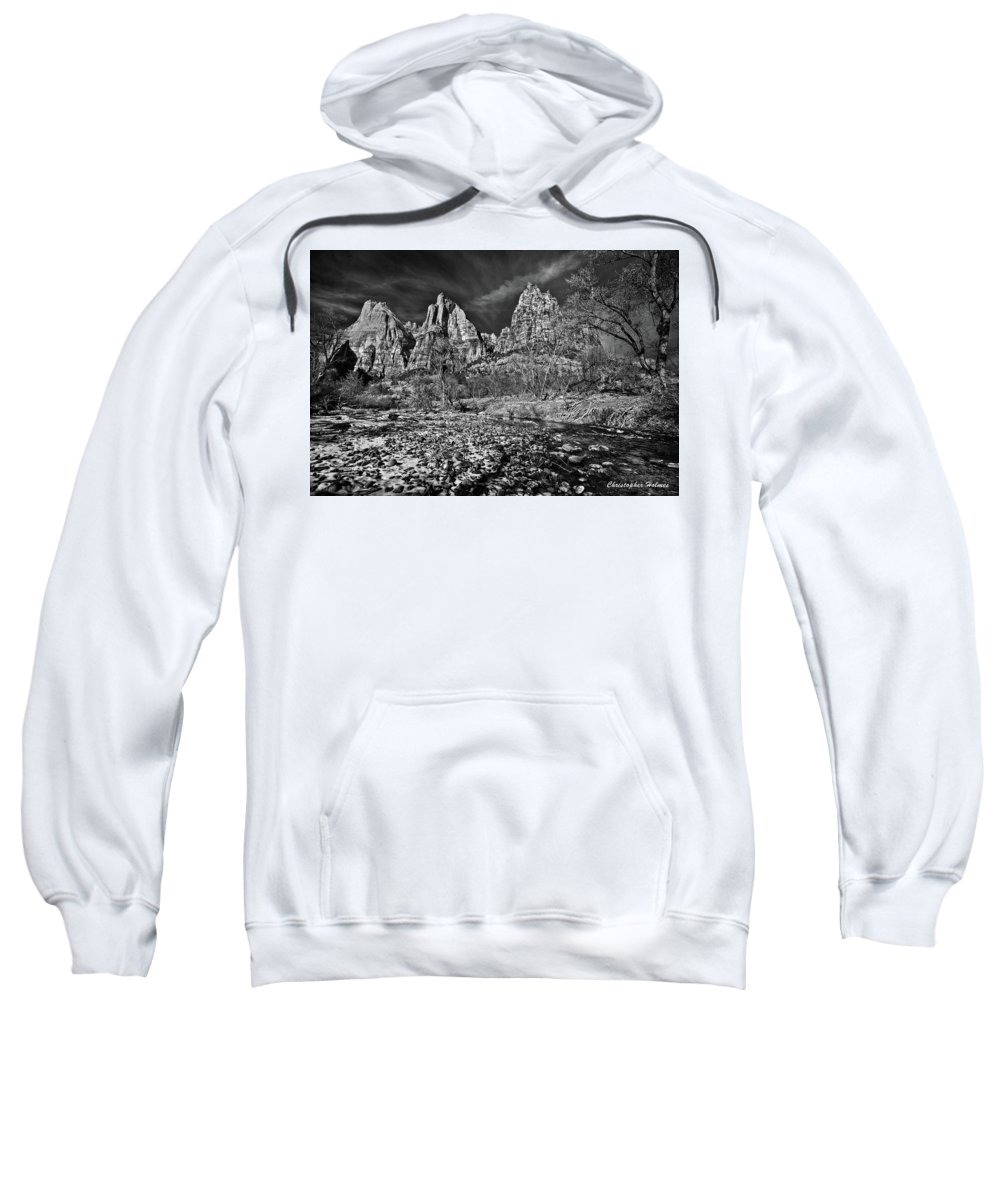 Art Sweatshirt featuring the photograph Court Of The Patriarchs II - Bw by Christopher Holmes