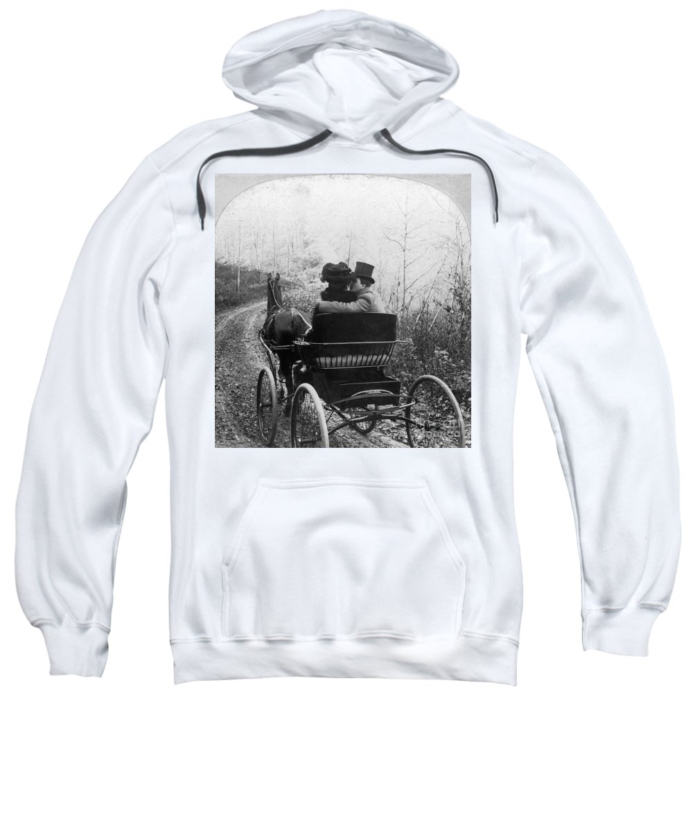 1904 Sweatshirt featuring the photograph Courtship/carriage Ride by Granger