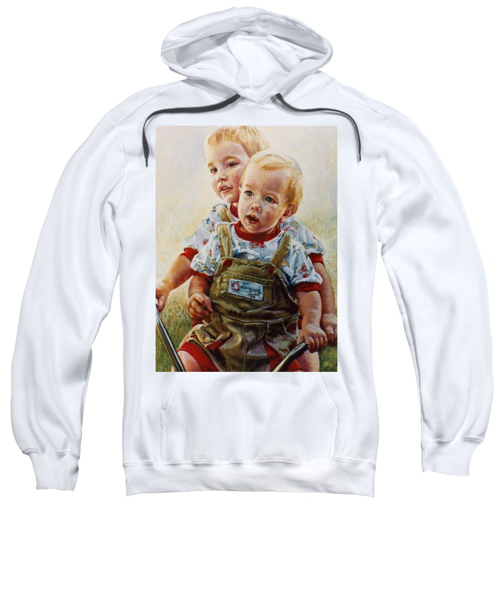 Pastel Portrait Sweatshirt featuring the pastel Cousins by Jean Hildebrant