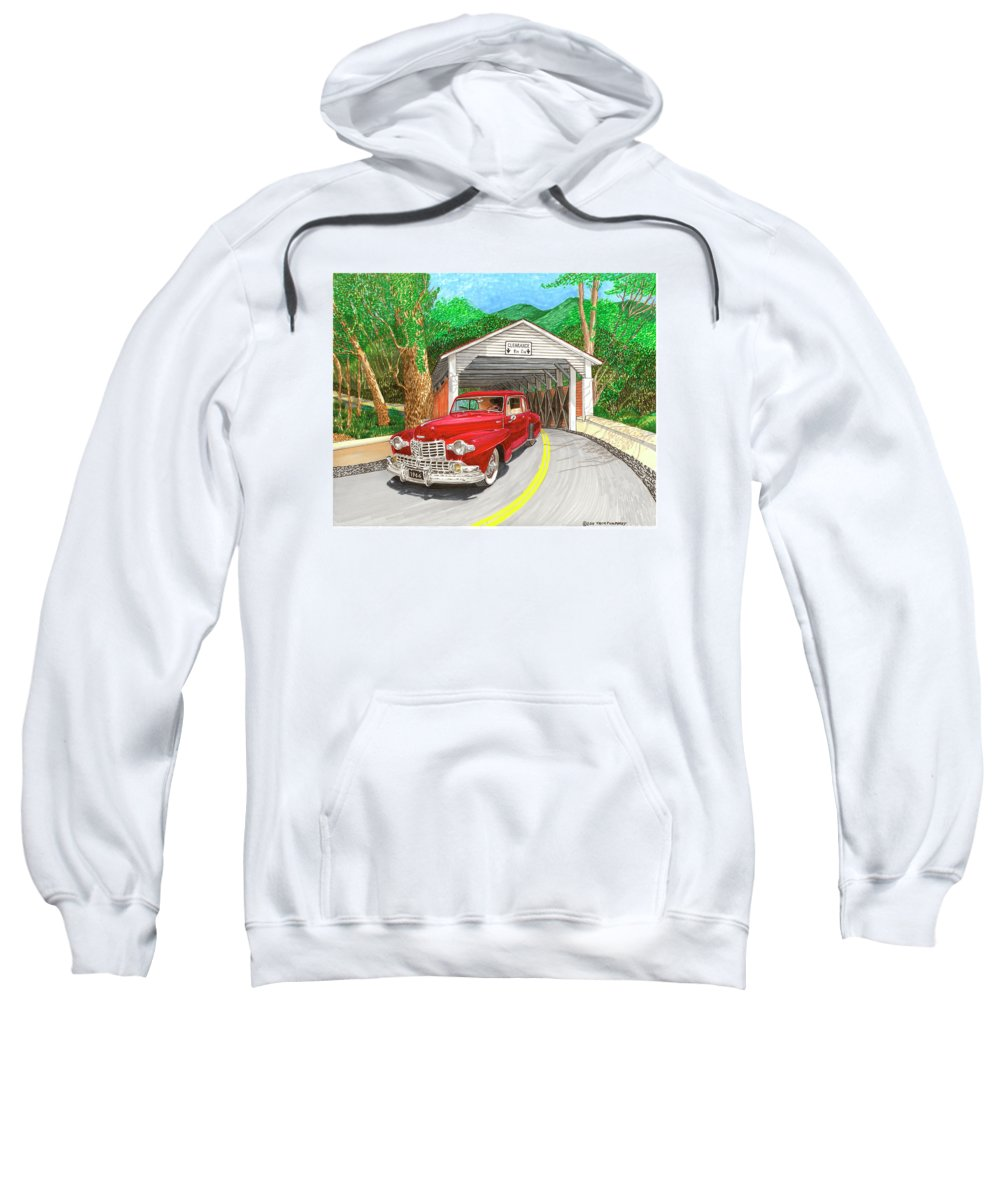 Framed Canvas Prints Of 1946 Lincoln Continental And Vintage Covered Bridge. Framed Prints Of Automotive Art. Framed Prints Of Rural Americana Transportation Art. Framed Classic Lincoln Art Prints. Sweatshirt featuring the painting Covered Bridge Lincoln by Jack Pumphrey