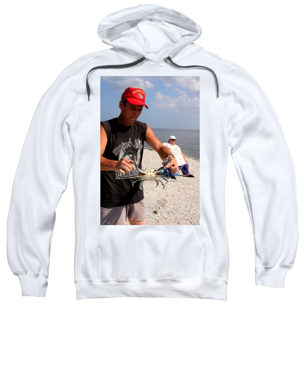 Blue Crab Crabbing Louisiana Seafood Lake Beach Coast Sweatshirt featuring the photograph Crabbin For Blues by Angie Covey