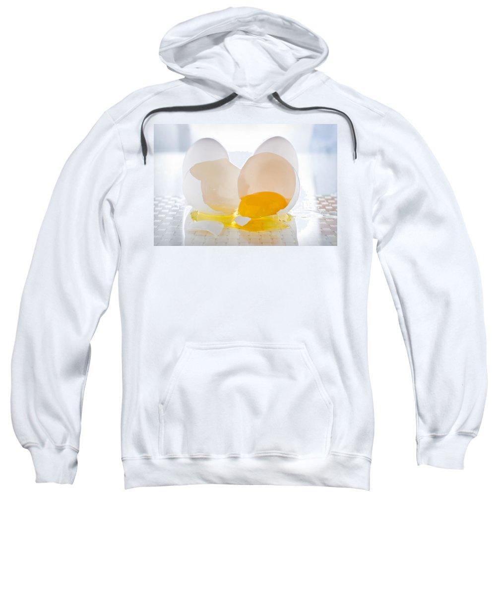 Egg Sweatshirt featuring the photograph Cracked Egg by Steve Gadomski