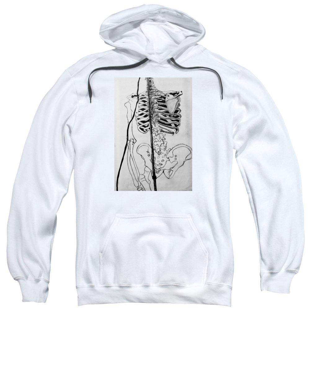 Bone Sweatshirt featuring the drawing Crackling Bones by Jean Haynes