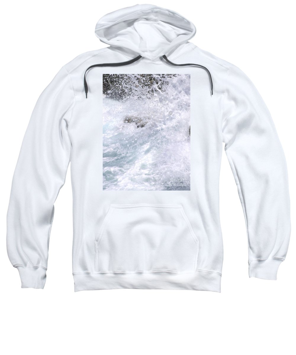 White Water Sweatshirt featuring the photograph Crashing Against Lava Rocks by Mary Deal