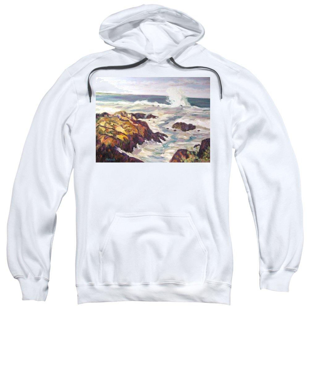 Water Sweatshirt featuring the painting Crashing Wave On Maine Coast by Richard Nowak