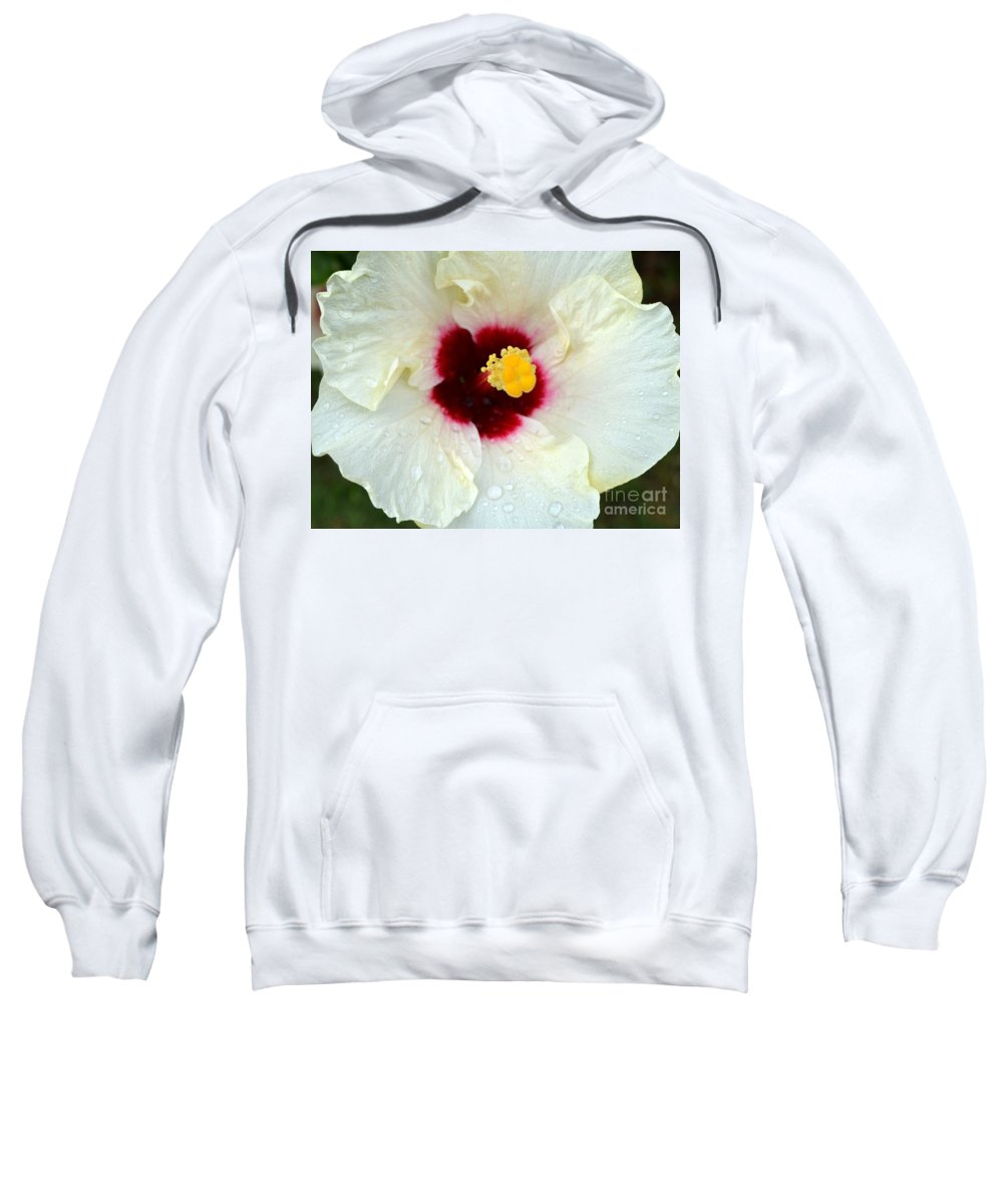 Hibiscus Sweatshirt featuring the photograph Creamy Hibiscus With Rain Drops by Mary Deal