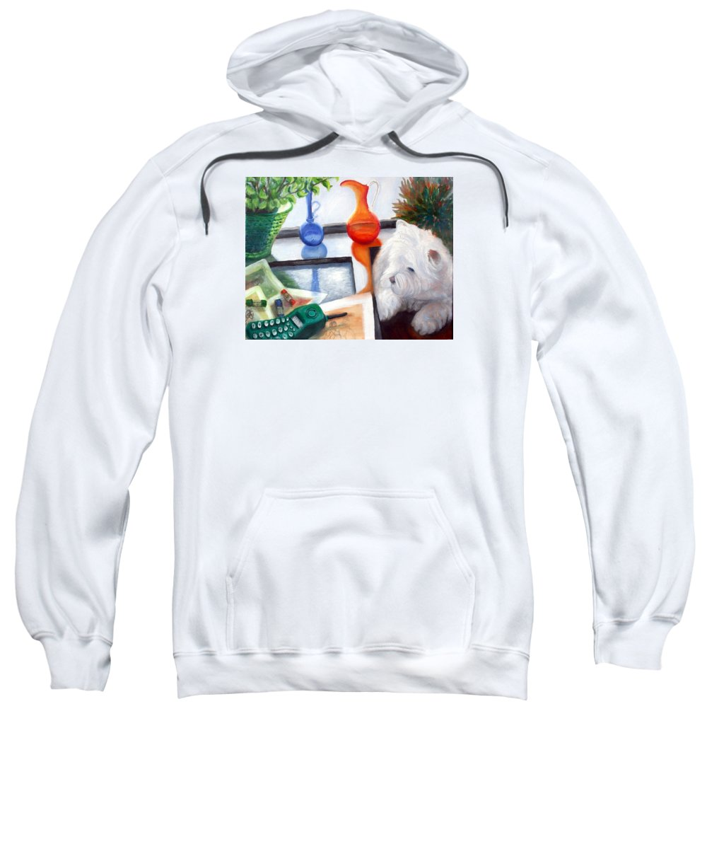 Dog Sweatshirt featuring the painting Creative Reflections by Minaz Jantz